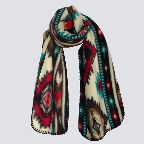 Native Print Fleece Scarf in Red