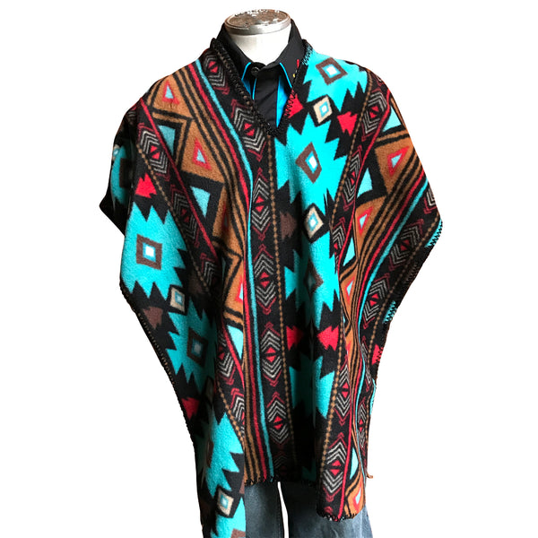 Kid's Native Pattern Fleece Western Poncho in Brown & Turquoise