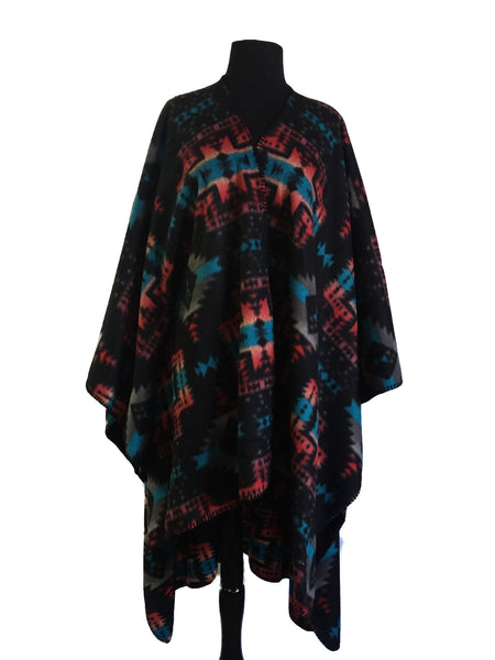 Buffalo Check Pattern Fleece Poncho