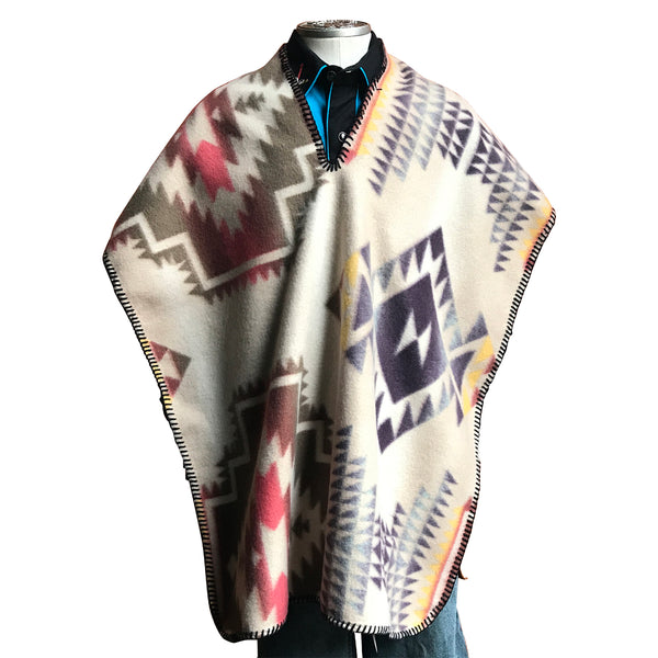 Kid's Native Pattern Fleece Western Poncho in White & Brown