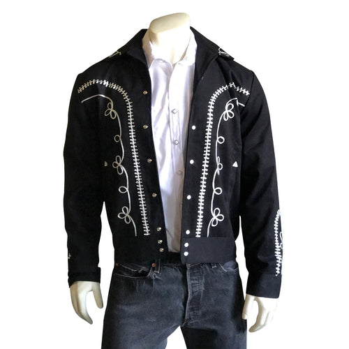 Men's Vintage Western Bolero Jacket with White Scrolling Embroidery