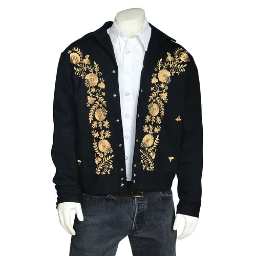 Men's Vintage Western Bolero Jacket with Gold Floral Embroidery