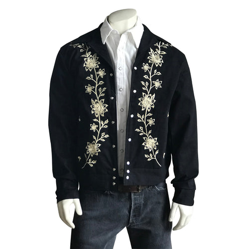 Men's Vintage Western Bolero Jacket with Ivory Floral Embroidery