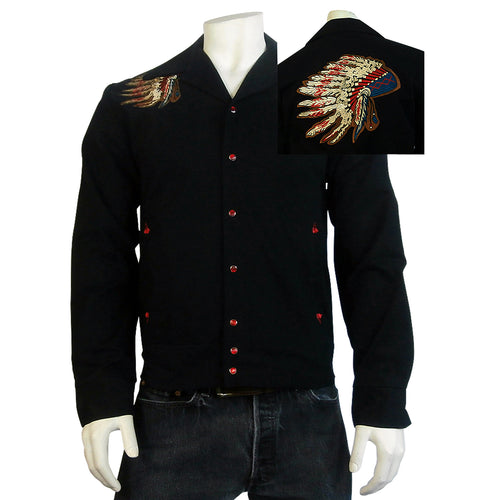 Men's Gabardine Warbonnet Embroidery Western Jacket