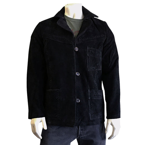 Kid's Black Laced Suede Western Jacket
