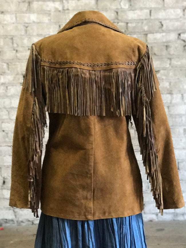 Women's Rust Fringe Suede Jacket
