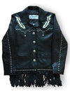 Women's Black Leather Jacket with 2-tone Inlay, Lacing & Fringe