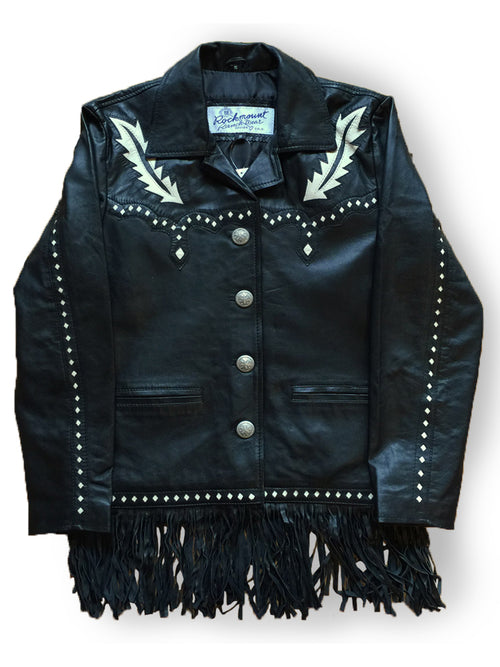 Women's Black Leather Jacket with 2-tone Inlay, Lacing & Fringe - Rockmount