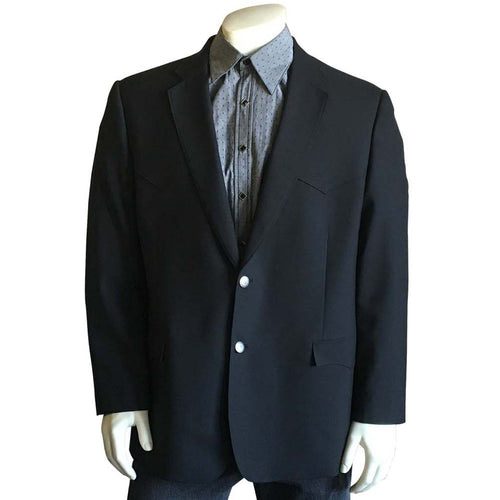 Men's Black Wool Blend Western Blazer