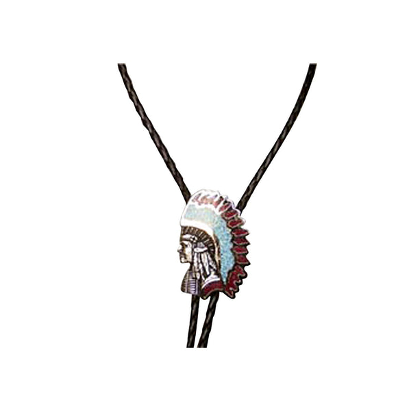 Silver Native Chief with Turquoise Western Bolo Tie