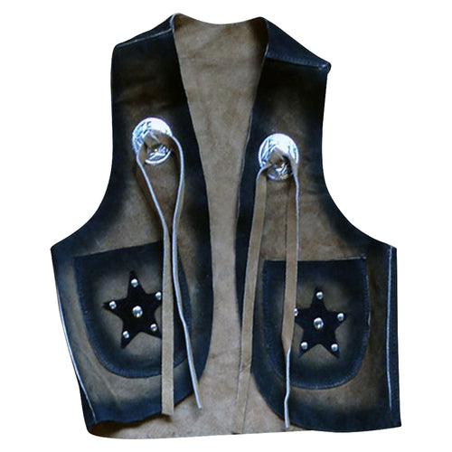 Kid's Black & Tan Leather Western Vest
