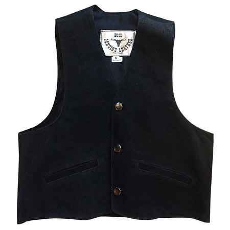 Kid's Black Cowhide Leather Western Vest