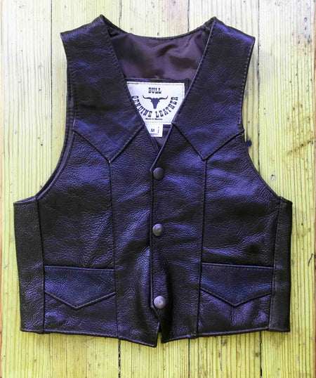 Kid's Brown Laced Cowhide Leather Western Vest