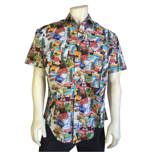 Men's Short Sleeve Bear Crossing Print Western Shirt