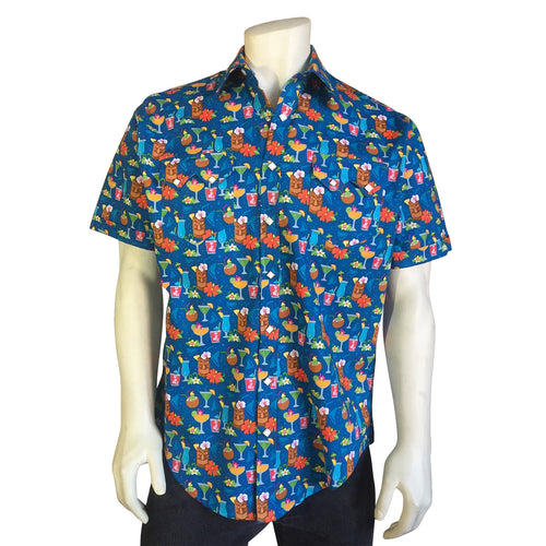 Men's Blue Hawaiian Tiki Print Short Sleeve Western Shirt