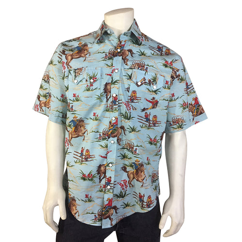 Men's Vintage Western Print Light Blue Short Sleeve Shirt