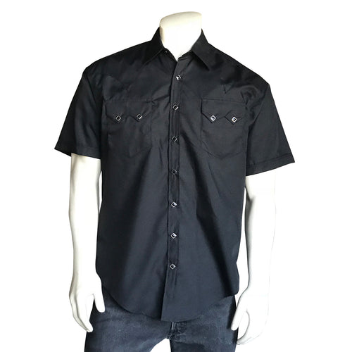 Men's Solid Black Cotton Blend Short Sleeve Western Shirt