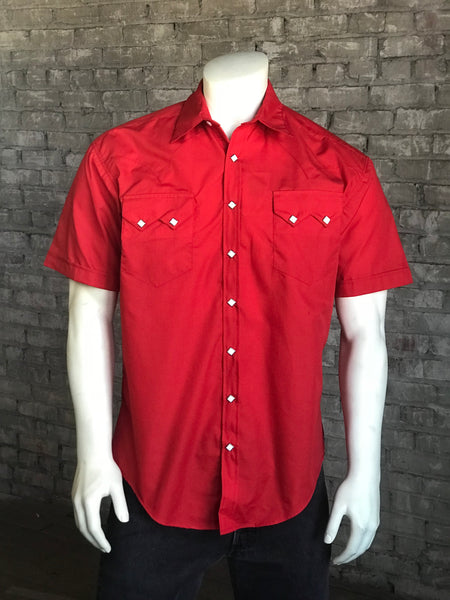 Solid White Cotton Blend Short Sleeve Western Shirt
