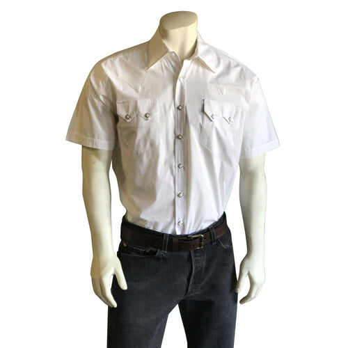 Men's Solid White Cotton Blend Short Sleeve Western Shirt