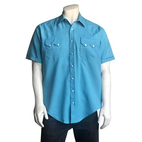Men's Short Sleeve Aqua Western Shirt with UV Protection