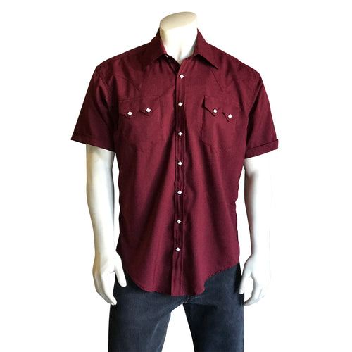 Men's Short Sleeve Burgundy Western Shirt with UV Protection