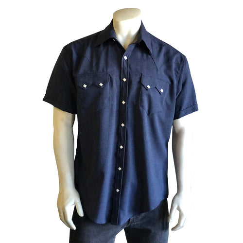 Men's Short Sleeve Navy Western Shirt with UV Protection