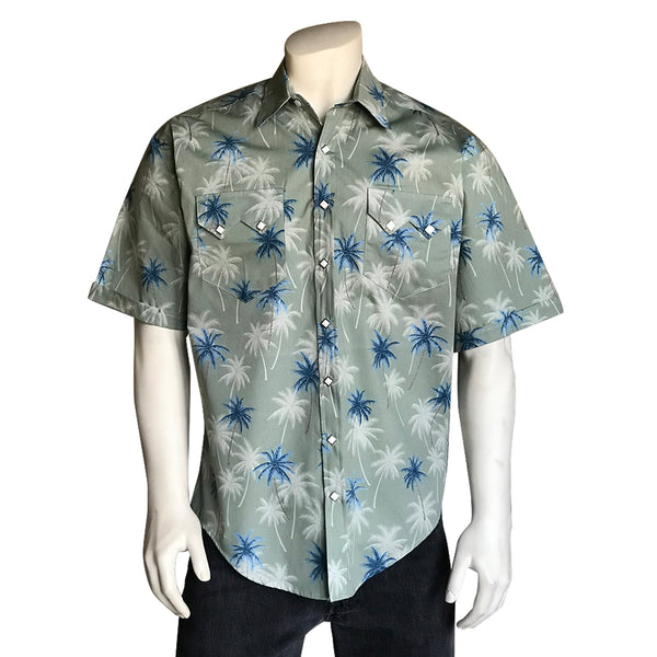 Men's Palm Tree Short Sleeve Hawaiian Western Shirt in Sage