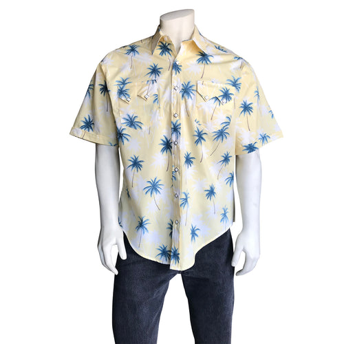 Men's Palm Tree Short Sleeve Hawaiian Western Shirt in Yellow