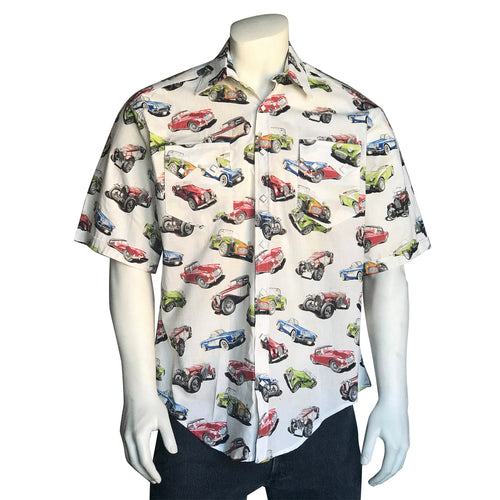 Men's Americana Collector Cars Short Sleeve Western Shirt in White
