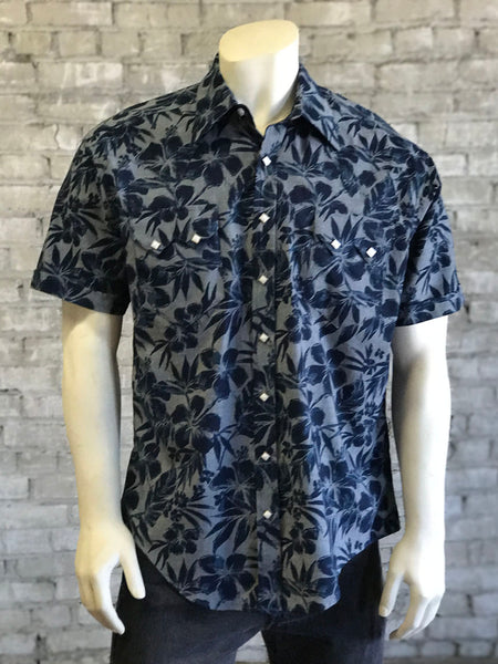 Men's Floral Tooling Denim Shirt with Red Embroidery