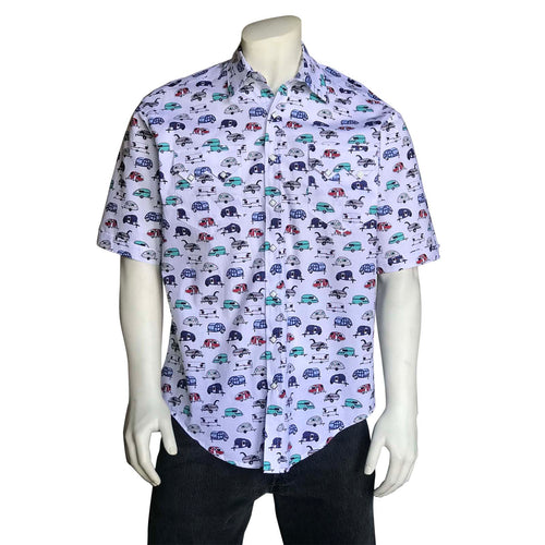Men's Retro Campers Print Short Sleeve Western Shirt in White