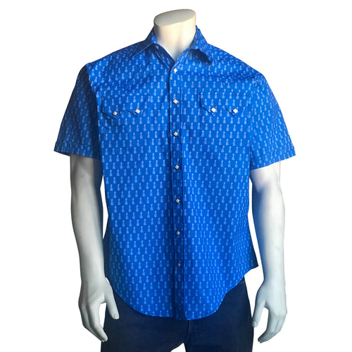 Men's Short Sleeve Blue Pineapple Western Shirt with UV Protection