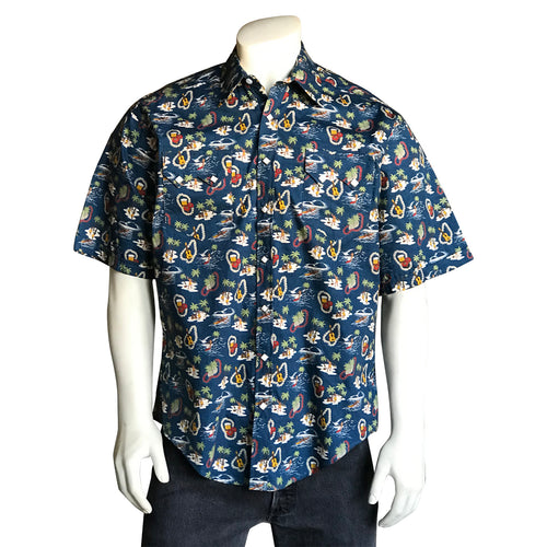 Men's Short Sleeve Hawaiian Print Western Shirt in Blue