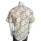 Men's Short Sleeve Hawaiian Print Western Shirt in White