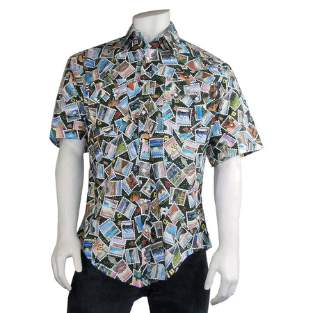 Men's Palm Tree Short Sleeve Hawaiian Western Shirt in Navy