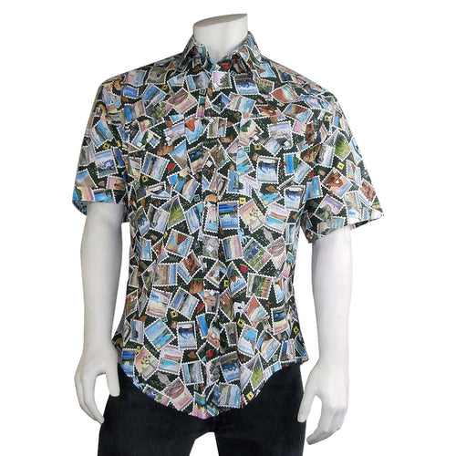 Men's National Park Stamps Print Short Sleeve Western Shirt