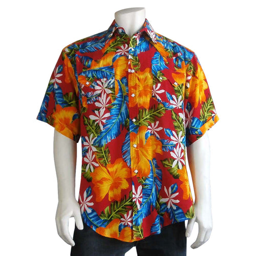Men's Hawaiian Floral Print Short Sleeve Western Shirt in Red