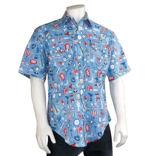Men's Route 66 Print Short Sleeve Western Shirt in Blue