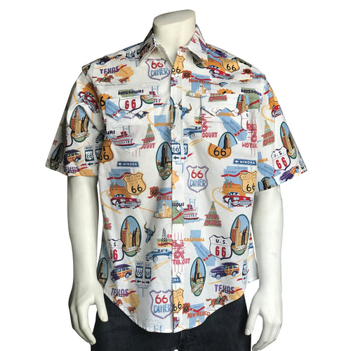 Men's Route 66 Print Short Sleeve Western Shirt in White