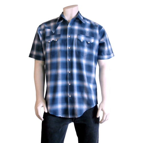 Men's Blue & White Shadow Plaid Short Sleeve Western Shirt