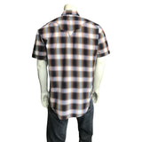 Men's Brown & Rust Shadow Plaid Short Sleeve Western Shirt