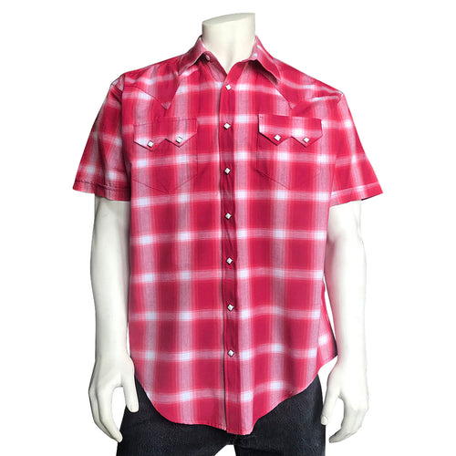 Men's Red & White Shadow Plaid Short Sleeve Western Shirt