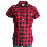 Women's Red & Black Buffalo Check Short Sleeve Western Shirt