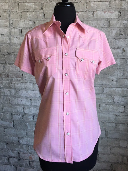 Women's Short Sleeve Pink Gingham Check Western Shirt
