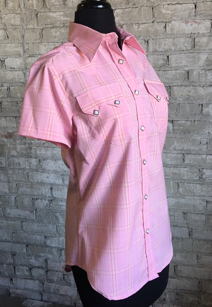 Women's Pink Plaid Short Sleeve Shirt