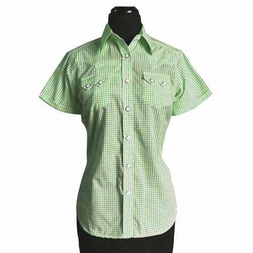Women's Short Sleeve Green Gingham Check Western Shirt