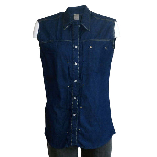 Women's Vintage Stonewashed Denim Sleeveless Western Shirt