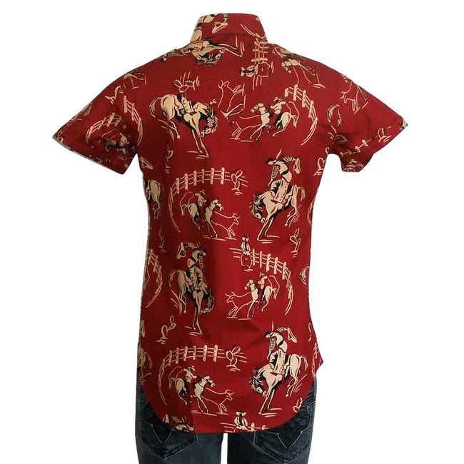 Women's Short Sleeve Red Vintage Western Print  Western Shirt