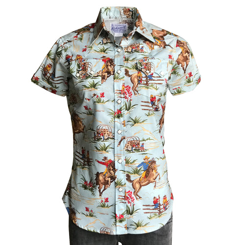 Women's Vintage Western Print Light Blue Short Sleeve Shirt