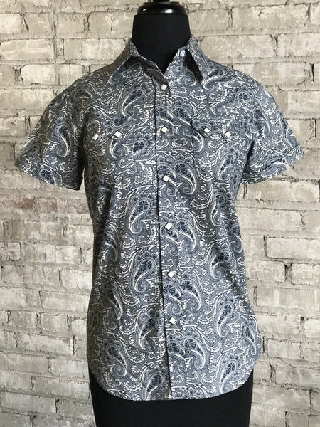 Men's Art Deco Tulip Embroidery Navy Western Shirt
